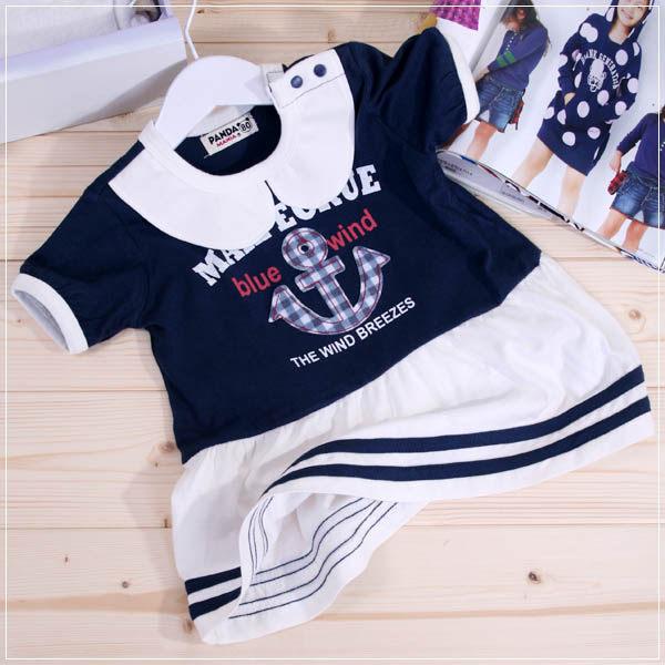 魔法Baby ~船錨貼布繡小洋裝甜美系(深藍)~童裝~女童裝~時尚設計童裝~k22056