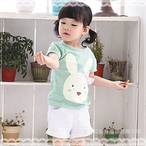 魔法Baby ~酒窩兔套裝(綠)~童裝~女童裝~時尚設計童裝~k20984