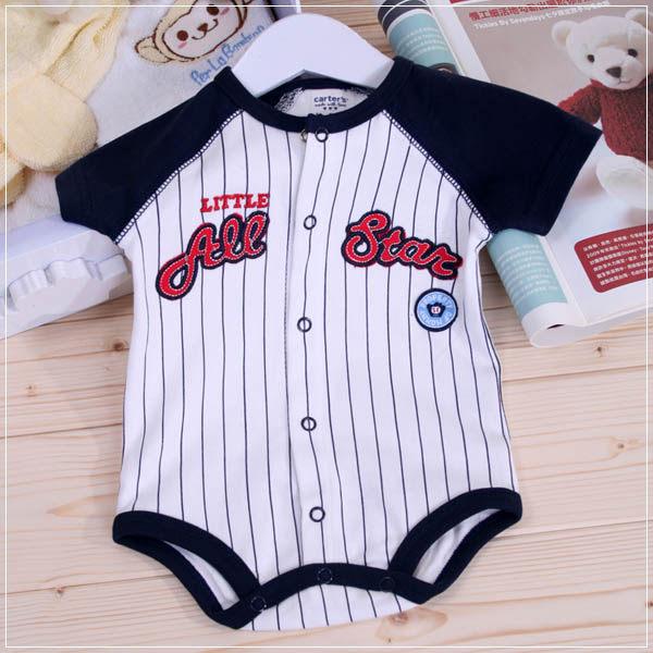 魔法Baby ~歐美單棒球風短袖包屁衣~童裝~男童裝~時尚設計童裝~k22063