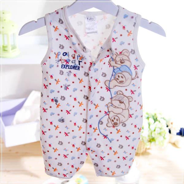 魔法Baby ~法國設計無袖前開扣連身衣(米黃)~童裝~男女童裝~時尚設計童裝~k22346