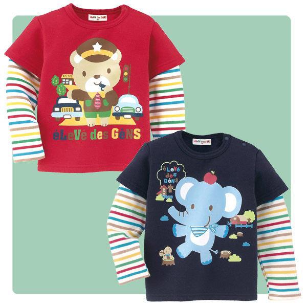魔法Baby ~卡通全棉假兩件薄長袖T恤~童裝~男童裝~時尚設計童裝~藍~k19193