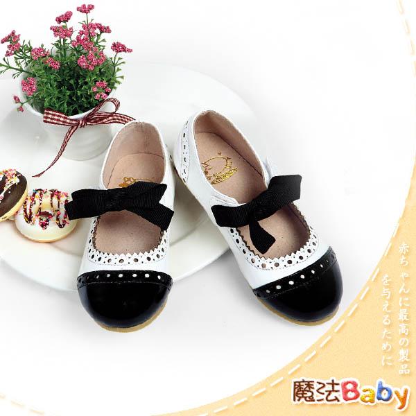 魔法Baby~【KUKI酷奇】甜美系緞帶蝴蝶結質感淑女鞋(黑白)~女童鞋~時尚設計童鞋~sh0415