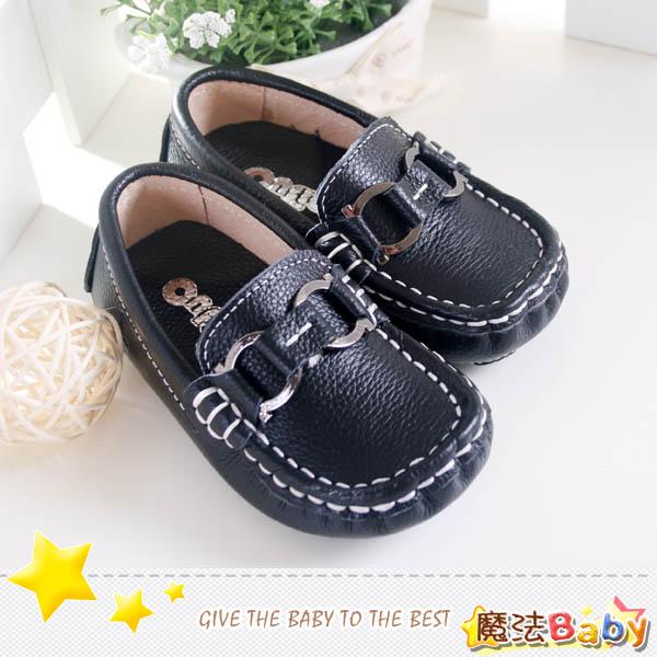 魔法Baby~【KUKI酷奇】百貨專櫃正品全雙真皮帆船鞋_潮飾環扣(黑)~男童鞋~時尚設計童鞋~sh1733