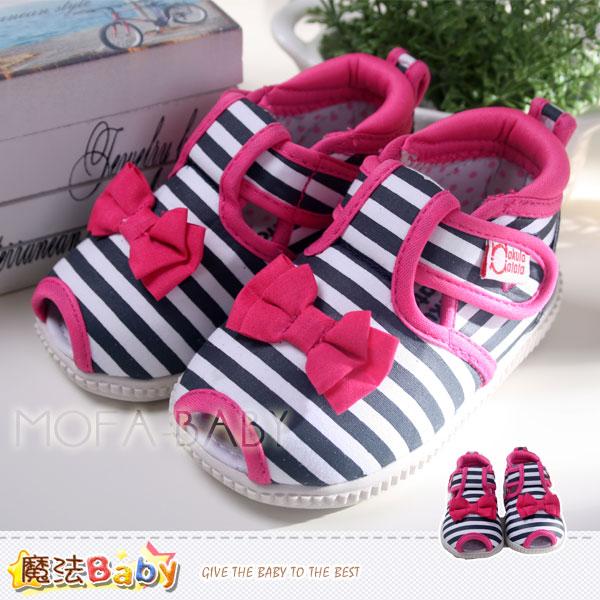 魔法Baby~【KUKI酷奇】蝴蝶結條紋寶寶鞋/啾啾鞋/學步鞋~sh2655