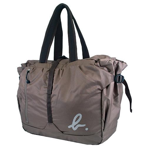 【LA STORES】agnes b. 卡其色摺疊拉鍊托特包/旅行袋