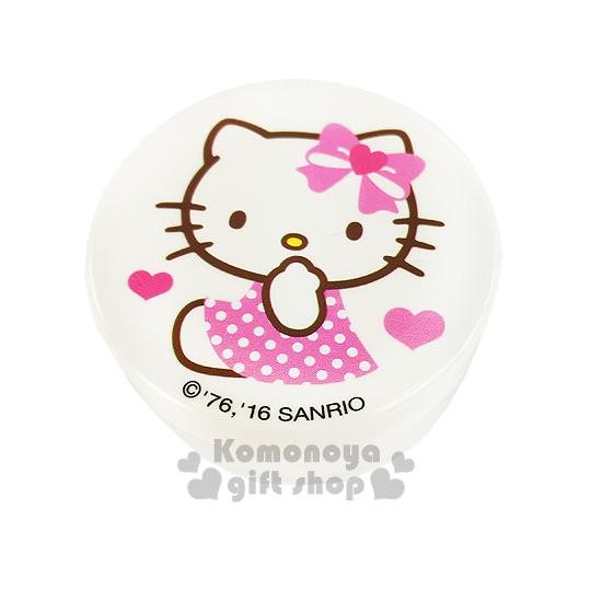 〔小禮堂〕Hello Kitty 乳液盒《30g.透明.白.坐姿.愛心蝴蝶結.點點裙》平日旅行皆適用