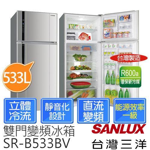 【台灣三洋 SANLUX】533L一級變頻雙門冰箱 SR-B533BV (珍珠銀)
