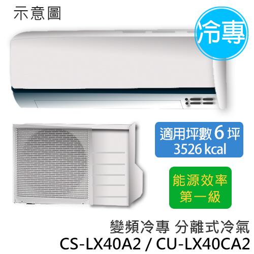 P牌 CS-LX40A2/CU-LX40CA2   旗艦型LX系列 (適用坪數約6坪、3526kcal) 變頻冷專分離式冷氣.