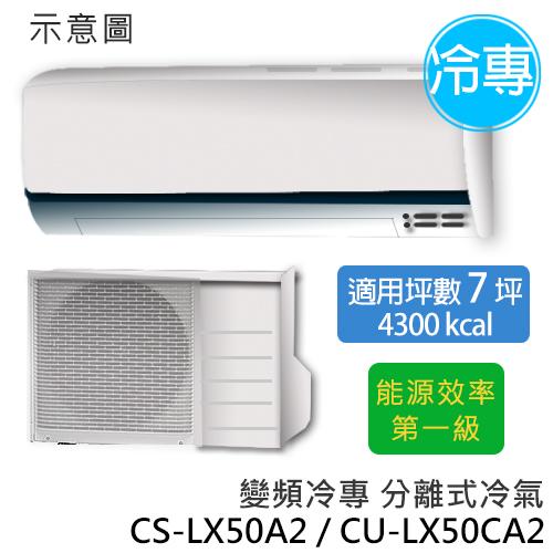 P牌 CS-LX50A2/CU-LX50CA2   旗艦型LX系列 (適用坪數8-9坪、4300kcal) 變頻冷專分離式冷氣