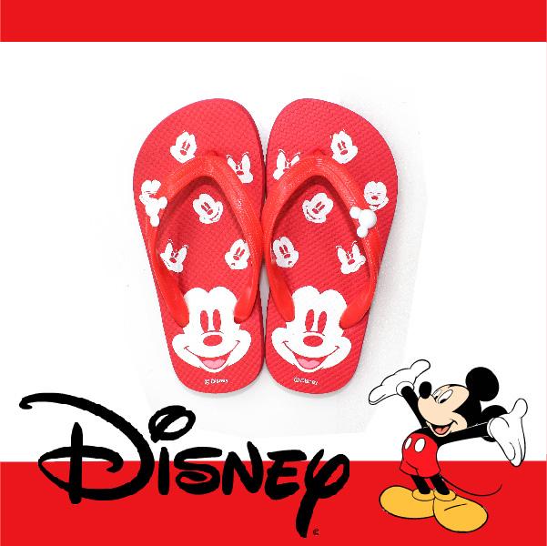 萬特戶外運動休閒 - 正版迪士尼兒童夾腳拖鞋 米奇大頭 親子款 (紅色)
