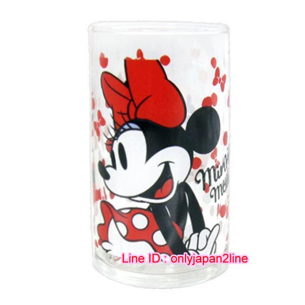 【真愛日本】16112300004日本製玻璃杯250ML-米妮紅白點  迪士尼 米老鼠米奇 米妮   馬克杯 杯子 水杯