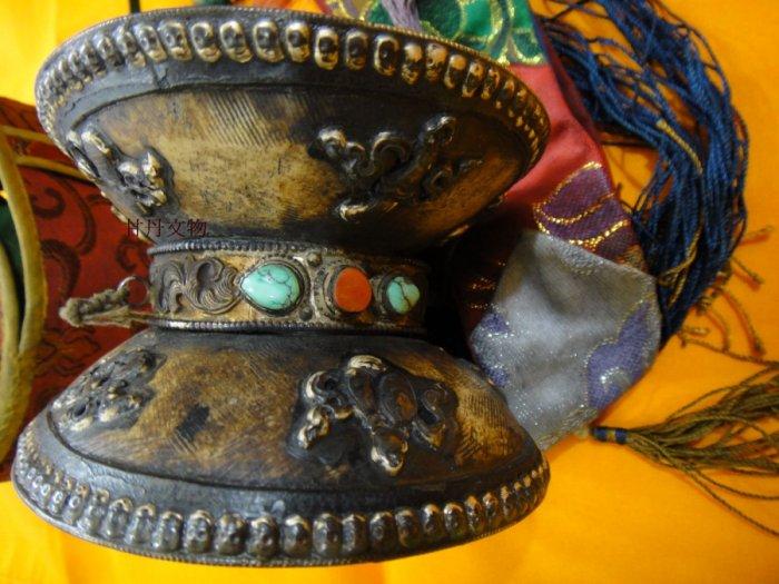 尼泊爾 有年份 手工(嘎巴拉) 骨鼓手搖鼓 ※牛皮手鼓 附舊舊鼓套.