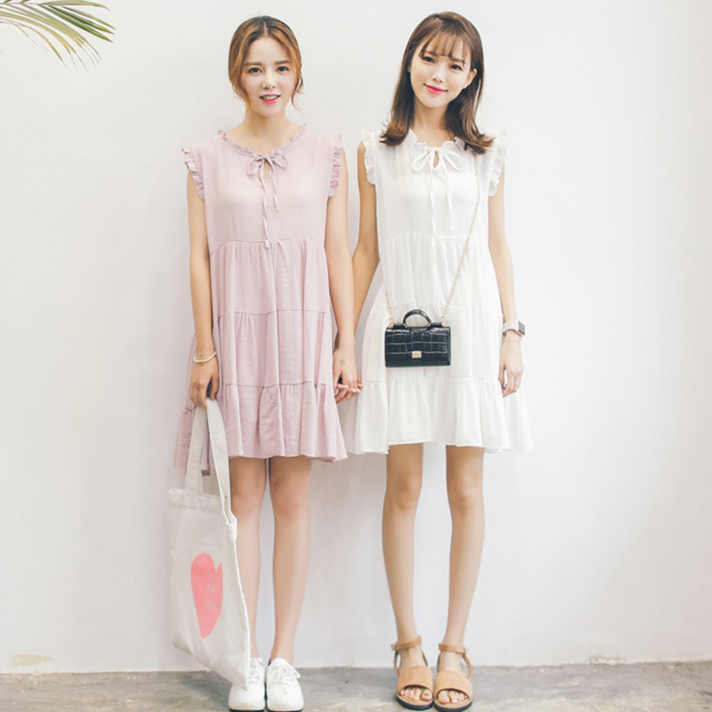 PS Mall 韓版簡約清新甜美木耳邊繫帶娃娃裙連身裙 洋裝【T035】