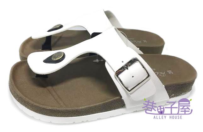 【巷子屋】ROOSTER公雞 女款經典勃肯夾腳拖鞋 [2330] 白色 MIT台灣製造 超值價$198