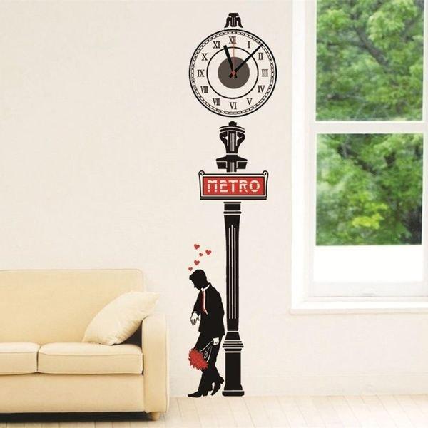 BO雜貨【YV0014】創意羅馬數字時鐘貼 地鐵紳士 時鐘壁貼