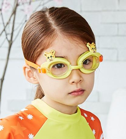 Kocotree◆可愛動物小鹿長頸鹿卡通造型兒童泳鏡防水護目鏡-黃色