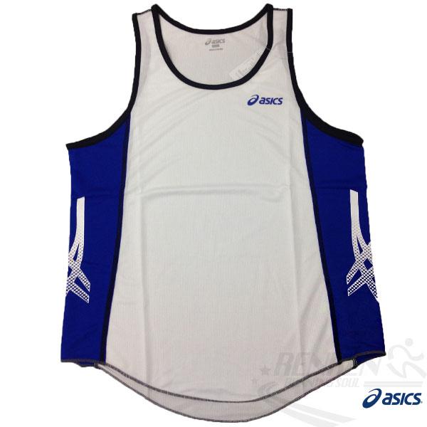 ASICS 亞瑟士 慢跑田徑背心 (白*藍) 吸汗速乾 防紫外線 夜跑 路跑