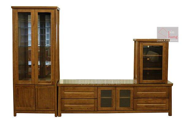 【尚品傢俱】445-05 瓦拉夫 黃金柚木半實木高低櫃/客廳展示收納櫃組/居家電視櫃組