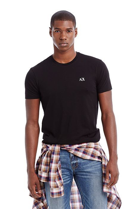 美國百分百【Armani Exchange】T恤 AX 短袖 T-shirt 圓領 凸字 logo 黑色 男 XS S XL XXL號 E679