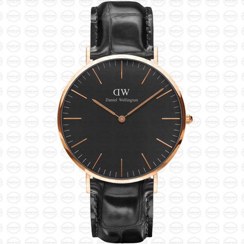 40MM 0129DW 黑錶面 玫瑰金邊 真皮黑錶帶 瑞典正品代購 Daniel Wellington 男錶手錶腕錶