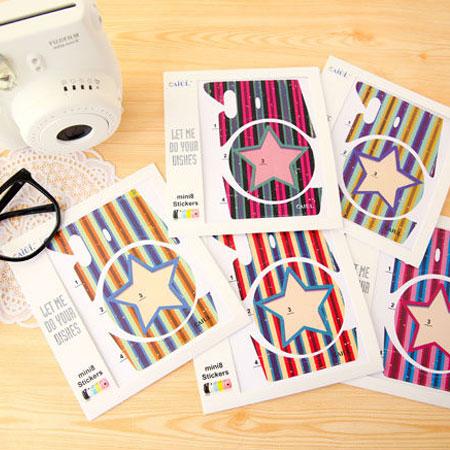 富士 拍立得 Mini 8 mini8 相機個性潮流貼紙 機身貼紙 裝飾貼紙 橫條星星【B070101】