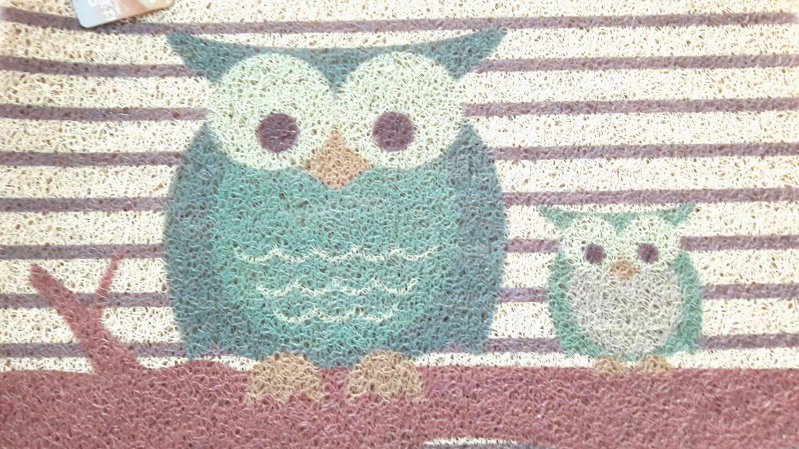 La maison生活小舖《印花刮泥繪圖地墊腳踏墊》可愛親子貓頭鷹圖案 耐用防滑 玄關、客廳、車裡皆適用 不同於一般刮泥圖案 放在美觀大方 地墊/軟墊/腳踏墊/止滑墊/刮墊/車用墊 40X60CM不佔空間