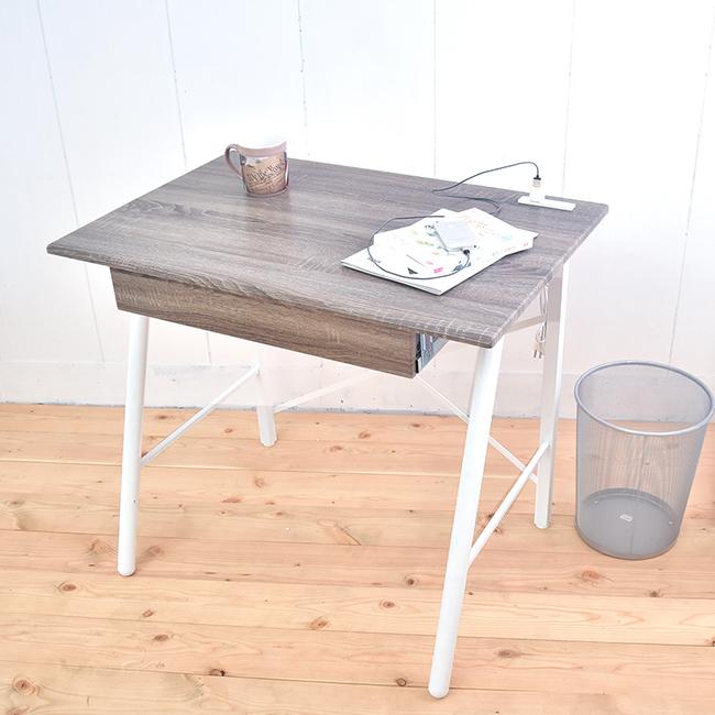 【凱堡】北歐風工作桌 立體浮雕PC書桌 桌子90公分 (充電插座) B15048