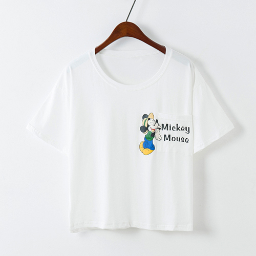YJY米奇口袋短版T恤[J51186]