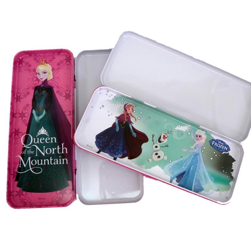 【真愛日本】15070400037 雙層鐵筆盒-艾莎安娜兩款  迪士尼 冰雪奇緣 Frozen  鉛筆盒 收納盒