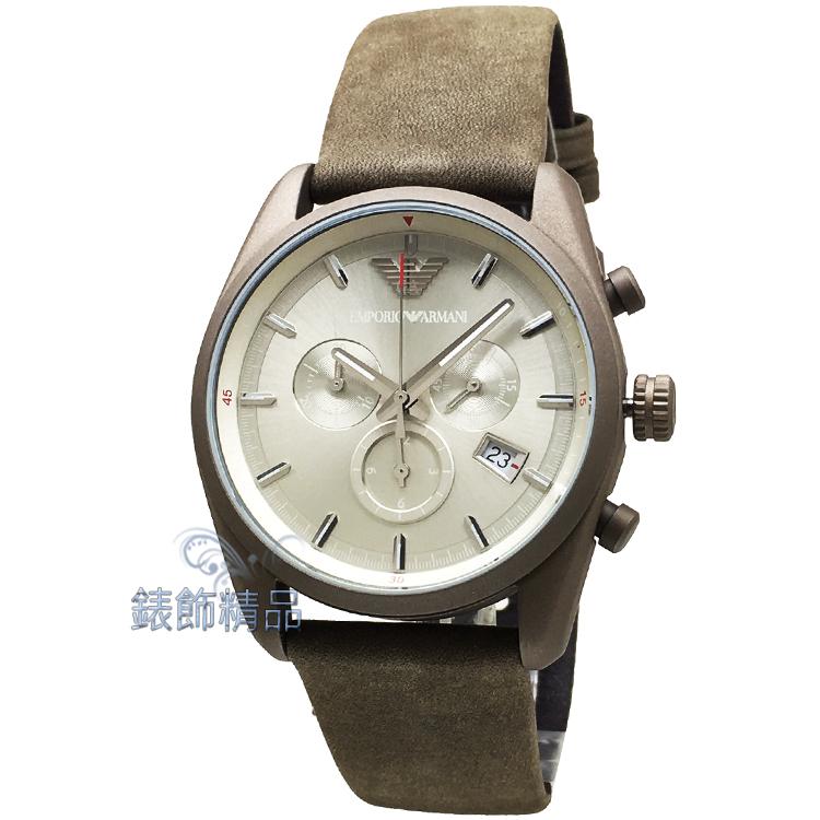 【錶飾精品】ARMANI手錶 亞曼尼表 內斂優雅 AR6076 三眼日期 銀面 灰綠色皮帶男錶 全新正品 情人生日禮物