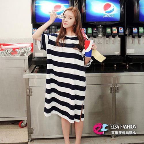 韓版長版T恤睡衣洋裝 艾爾莎 舒適寬鬆圓領短袖條紋T恤裙連身裙【TQT0035】