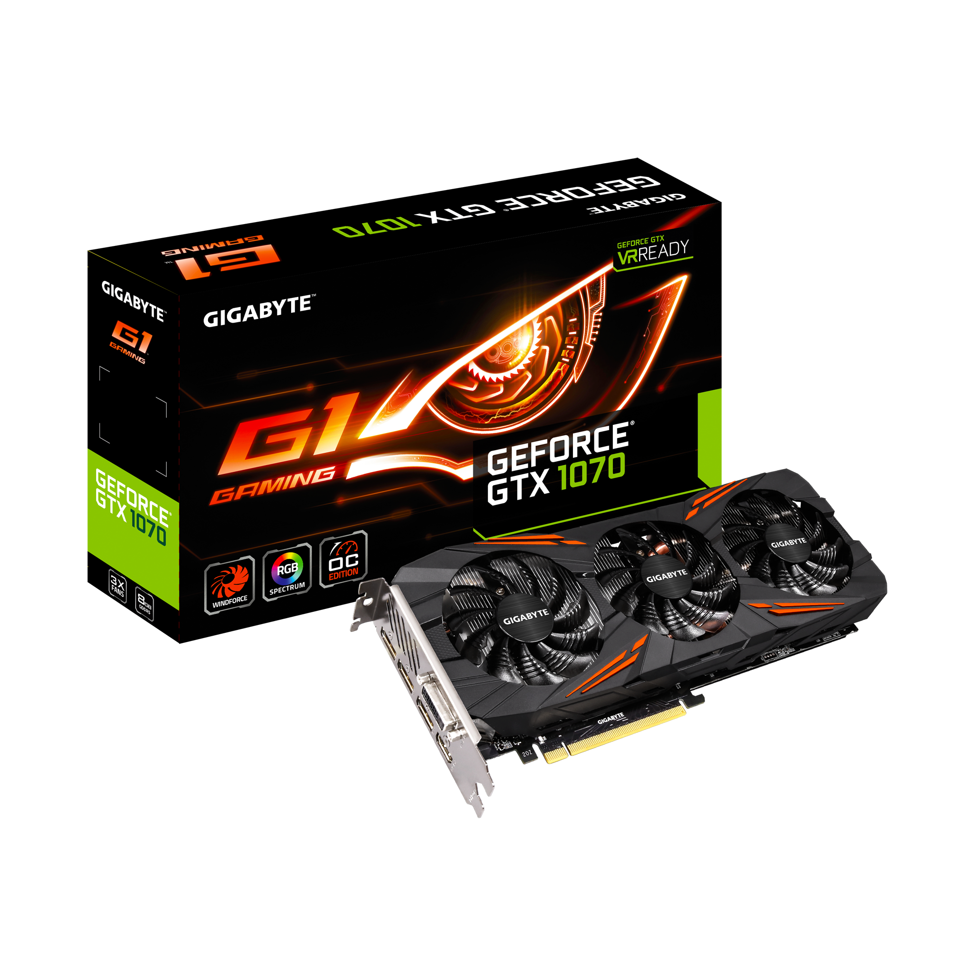 技嘉 顯示卡 GeForce GTX 1070 G1 GAMING 8G  (GV-N1070G1-8GD)