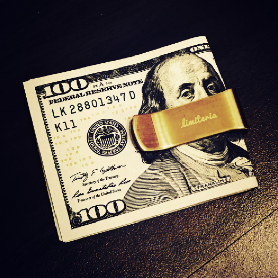brass黃銅錢夾 Money Clip 個人品味 沉靜內斂 無表面處理銅 保存獨一無二個人手印 手工打磨拋光【Limiteria】