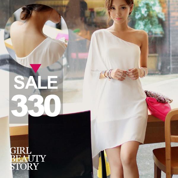 SISI【D6213】斜肩純色雪紡連身裙洋裝
