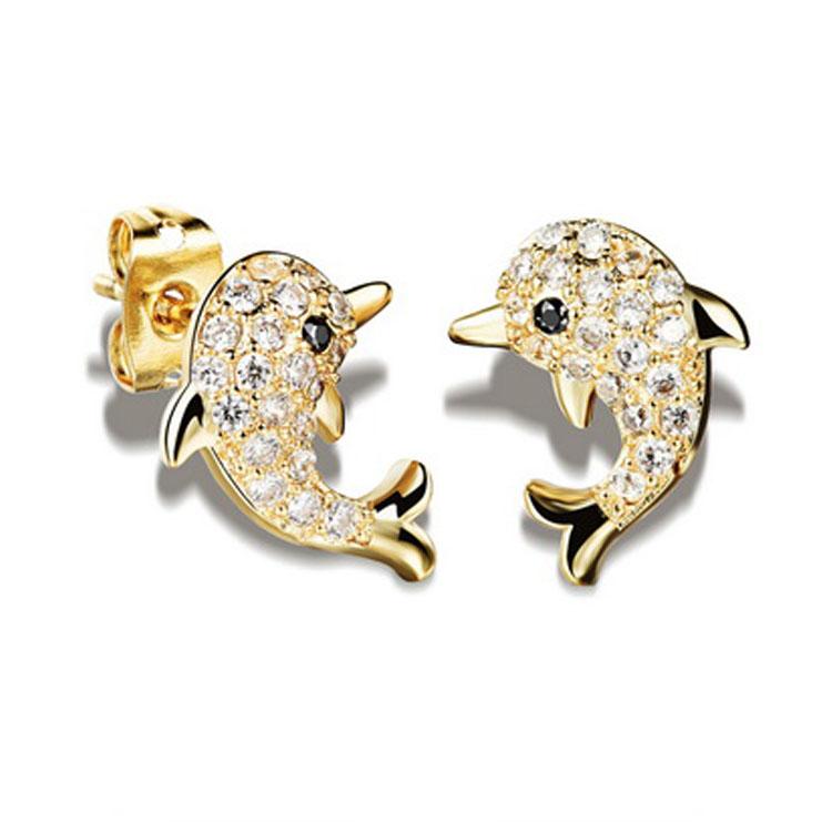 最新款經典時尚海豚水鑽造型鍍白金鍍18K金耳環耳飾