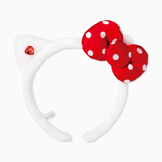 【真愛日本】16091700021   立體造型耳髮箍-KT點點紅結     三麗鷗 KITTY 髮圈 髮箍 生活用品 美妝