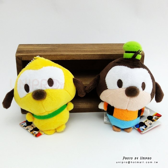 【UNIPRO】迪士尼正版 胖嘟嘟 高飛 Goofy 布魯托 Pluto 11公分高 絨毛娃娃 站姿玩偶 珠鍊吊飾 沙皮