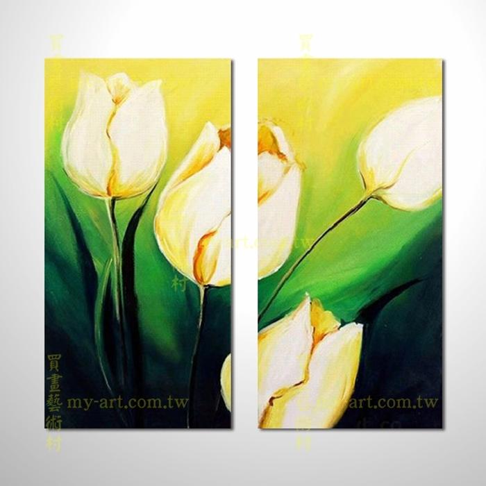 2拼花卉A45,鬱金香,抽象拼套畫,純手工油畫,客製臨摹抽象,居家佈置,門市,飯店,餐廳,民宿,辦公室,居家設計師,室內設計首選