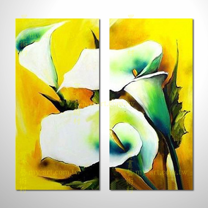2拼花卉A48,純手工油畫,客製臨摹抽象,居家佈置,藝術拼套畫,門市,飯店,餐廳,民宿,辦公室,室內設計