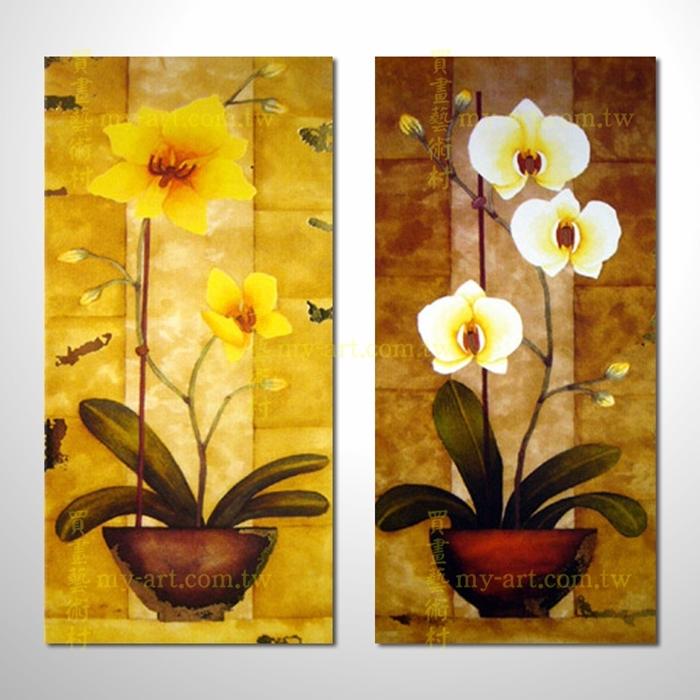 2拼花卉A50,純手工油畫,客製臨摹抽象,居家佈置,藝術拼套畫,門市,飯店,餐廳,民宿,辦公室,室內設計