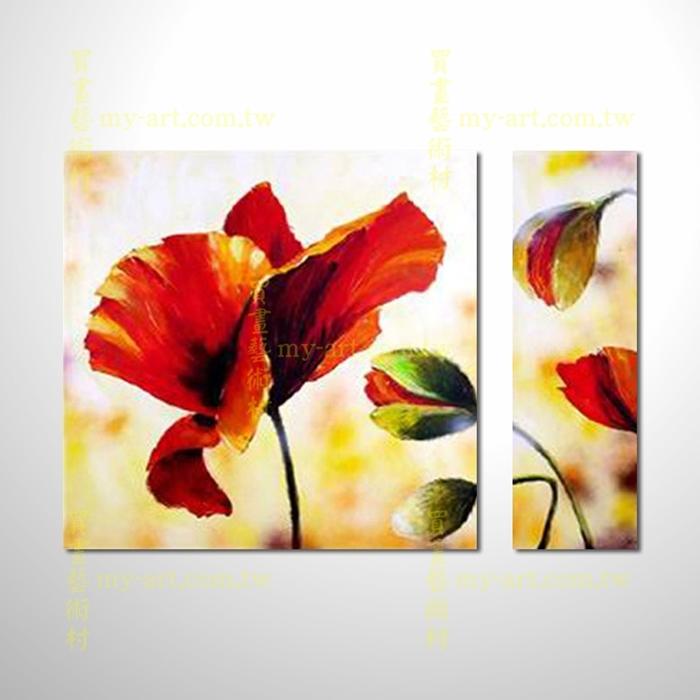 2拼花卉A59,純手工油畫,客製臨摹抽象,居家佈置,抽象拼套畫,門市,飯店,餐廳,民宿,辦公室,室內設計