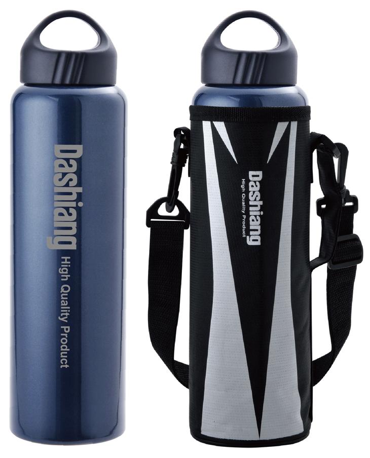 【RV運動家族】Dashiang 1100ML真水真空保溫瓶-附保護套(藍、銀兩色)