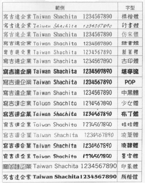 訂製章字體參考範例及排列