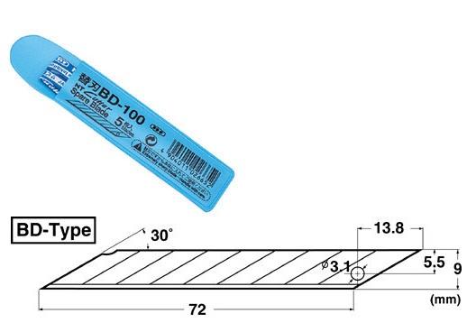 NT BD-100 美工刀補充刀片(一包5片入)