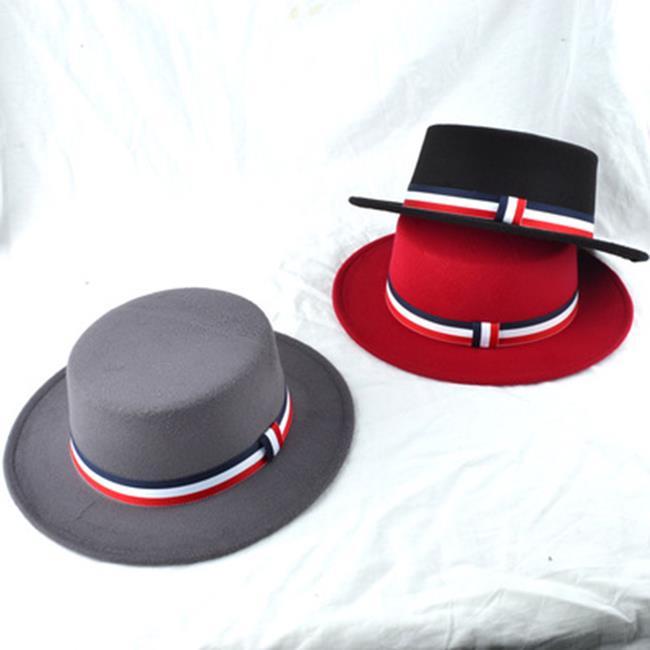 50%OFF【E018690SWH】帽子女秋冬天英倫大簷時尚帽韓版潮拼色羊毛呢爵士帽