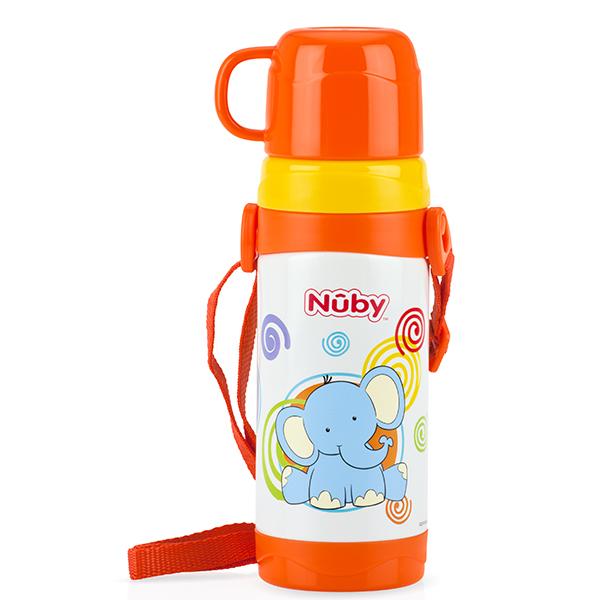 Nuby - 不銹鋼真空背帶水壺 (杯蓋) 360ml 拉拉象