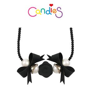 【Candies】蝴蝶結緞帶珍珠項鍊(黑)