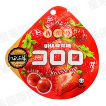 X射線【C659742】UHA 味覺草莓軟糖,點心/零嘴/餅乾/糖果/韓國代購/日本糖果/零食/伴手禮/禮盒