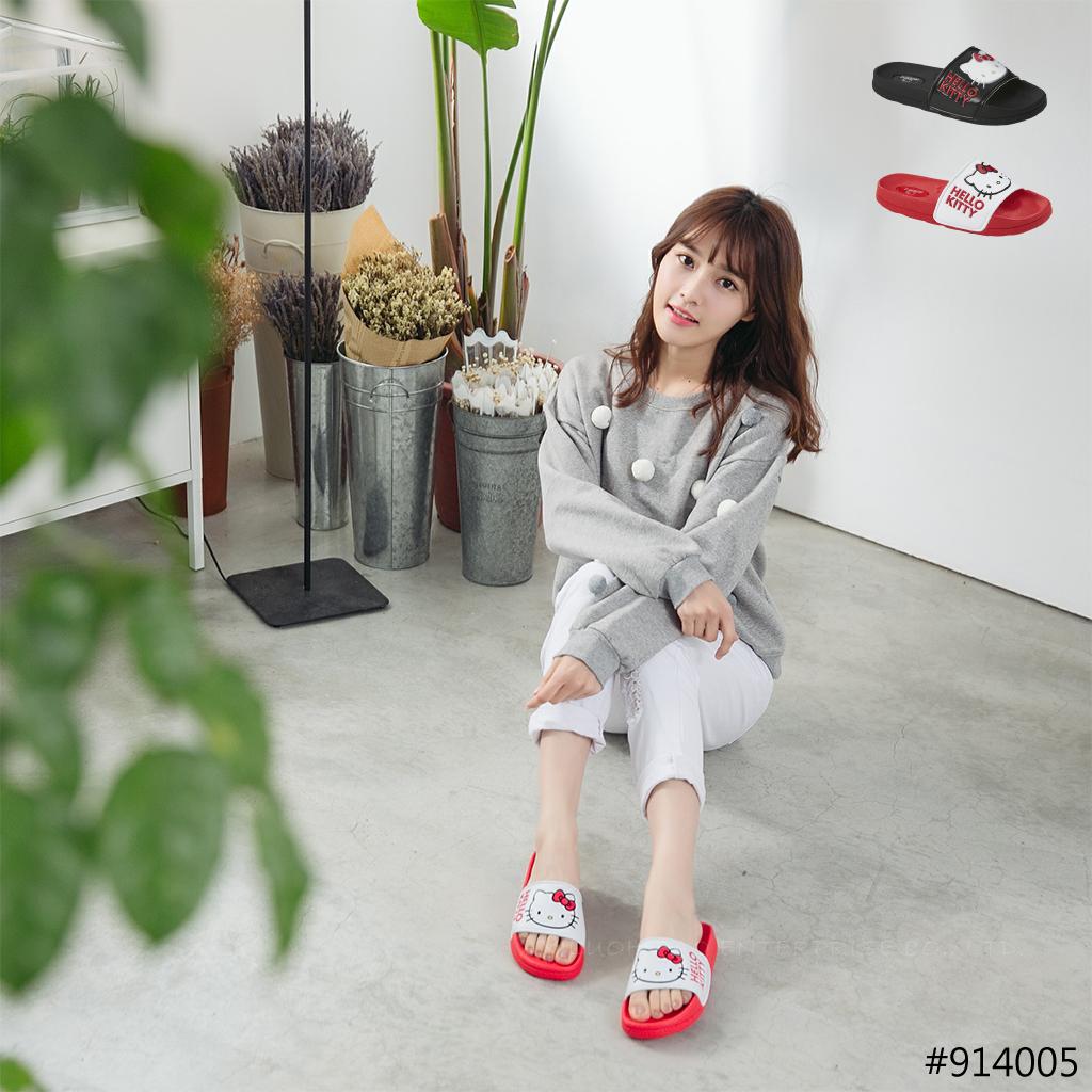 HELLO KITTY 凱蒂貓 914005 大臉字母 厚底拖鞋 (黑 / 白紅色)