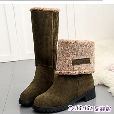 zalulu愛鞋館☼ KE047 預購 流行穿搭可反折後粗跟磨砂面中跟內刷毛中筒靴-偏小-墨綠/灰/黑-36-40